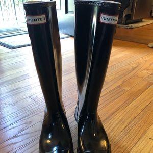 Hunter tall black shiny rain boots women size 37